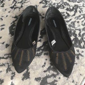 Xhilaration Black Flats with Zipper Size 7.5